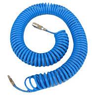 Шланг пневматический спиральный ADLER 6,5 х 10 мм полиуретановый 15м, с резьбовыми соединениями