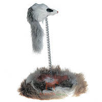 Игрушка для кошек, мышь на подставке, мех, Mouse On Stick (Карли-Фламинго) Karlie Flamingo
