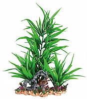 Декорация для аквариума растение пластиковое на каменной подложке, 28 см зеленое Trixie