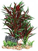 Декорация для аквариума растение пластиковое на каменной подложке, 28 см красное Trixie