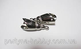 Обіймачі для шнурів 40мм, метал колір сталь 2 шт
