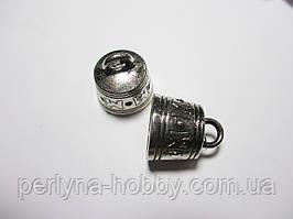 Обіймачі для шнурів 22мм, метал колір античне срібло 2 шт