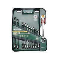 Ключи плоско-кольцевые Sata, с двойным храповиком, комплект 12 элем.