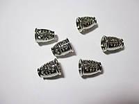 Обіймачі для шнурів 14мм, метал колір нікель, сталь 2 шт