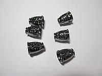 Обіймачі для шнурів 14мм, метал колір чорний 2 шт
