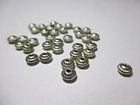 Коралик металевий  5 мм, Античне срібло 20 шт.