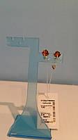 Серебряные серьги гвоздики (пусеты) с янтарем