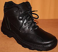 Ботинки зимние мужские на шнурках черные, обувь зимняя мужская от производителя модель АМ300, фото 1