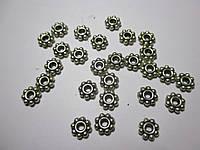 Коралик металевий  6 мм, Квітка ,  Античне срібло 20 шт.