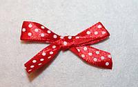 Бантик атласный красный в белый  горошек 653 поштучно, фото 1