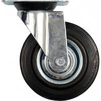 Колесо черная резина, поворотное 125 мм 87313