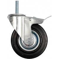 Колеса поворотные, черная резина, с тормозом 100мм