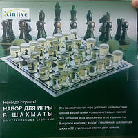 Шахматы - рюмки, набор для игр в шахматы со стеклянными стопками