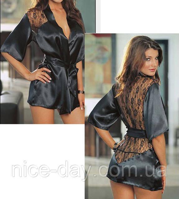 Ночная рубашка атлас+стринги Кружева на спине черный цвет -  Інтернет-магазин