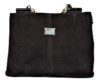 Женская сумочка из натуральной замши коричневого цвета и искусственой кожи HKG-003326