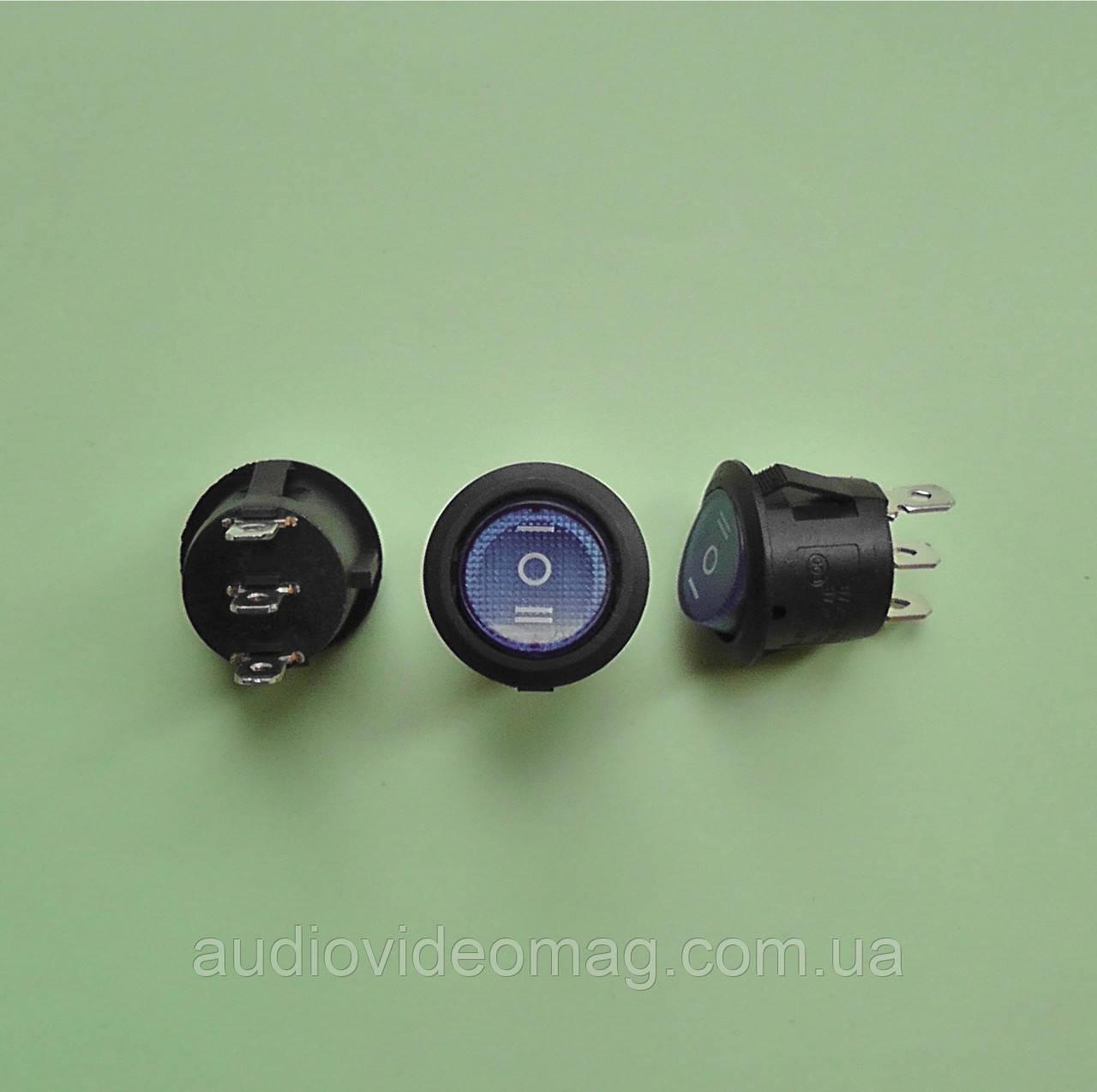 Кнопочный выключатель, трёхфазный, диаметр 20.3 мм, синий, с подсветкой