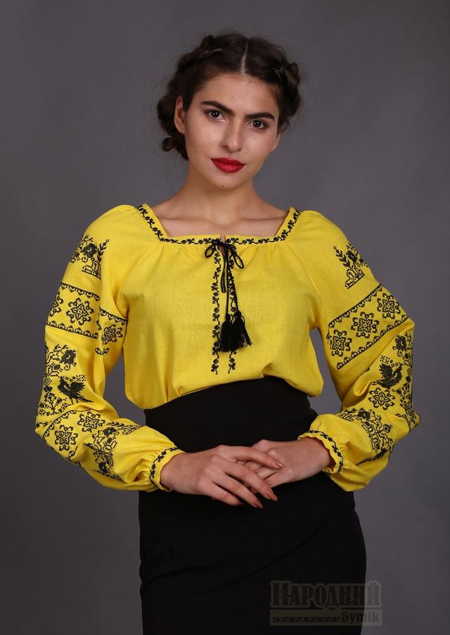 Вишиванка жіноча жовтий льон