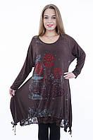 Женская туника с гипюром коричневого цвета 8033, размеры 60,62,64, фото 1