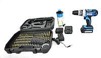 Дрель-шуруповерт аккумуляторный Alfa 18V 2 x 1,5 Ah li-ion + аксессуары и кейс CD213