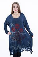 Женская туника с гипюром синего цвета 8033 БОЛЬШОЙ РАЗМЕР, фото 1