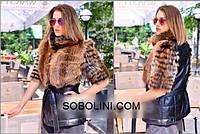 """Куртка из натуральной черной кожи с мехом лисы """"Linda"""""""
