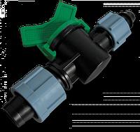 Старт-Коннектор лента/ Соединитель для трубки с зажимной гайкой та миникраном Bradas
