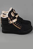 Кроссовки Giuseppe Zanotti Gold черные с золотыми вставки. Кроссовки зимние.Спортивная обувь. Зимние кроссовки