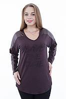 Женская блуза с вставками эко-кожи коричневого цвета 604, размеры 54,58, фото 1