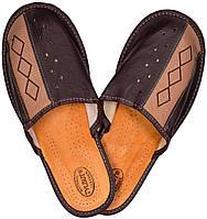 """Тапочки комнатные мужские кожаные """"Ромб"""" коричневый"""