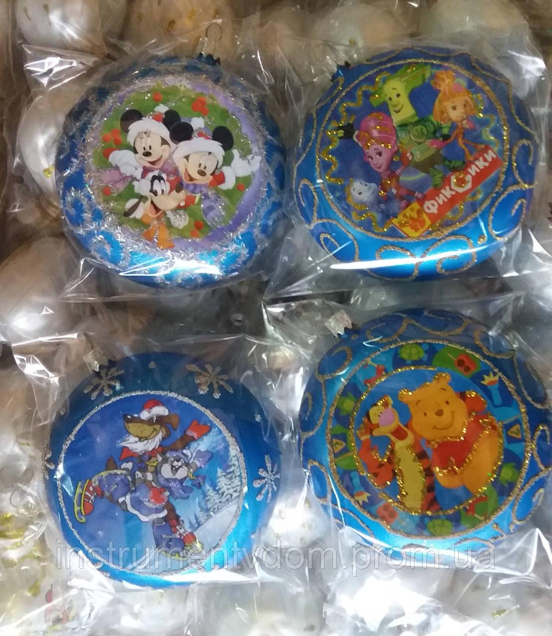 """Елочная игрушка """"Медаль синяя с героями мультфильмов"""" (диаметр 10 см)"""