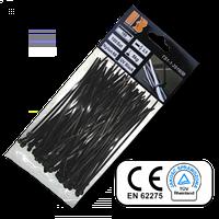 Стяжки кабельные пластиковые черные UV Black 4,8*370 мм Bradas