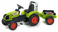Детский педальный трактор Falk  Claas Arion 430 с прицепом зеленый