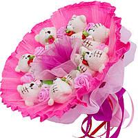 Букет из мягких игрушек Мишки Тэдди бежевые с розами