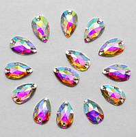 Стразы пришивные Капля 7x12 мм Crystal AB, смола (синтетическое стекло)