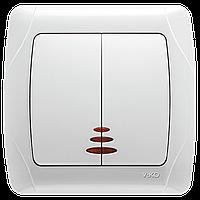 Выключатель 2-х клавишный с подсветкой VIKO Carmen Белый (90561050)