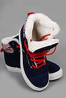 Кеды Vans Hiker. Кеды зимние. Спортивная обувь. Зимние кеды Vans Hiker высокие синие с белой подошвой и мехом