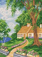 Ткань с рисунком для вышивания бисером Дачная лужайка РКЗ-007