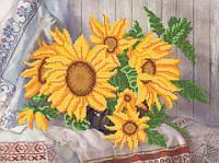 Ткань с рисунком для вышивания бисером Подсолнушки РКП-588