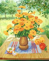 Ткань с рисунком для вышивания бисером Садовый натюрморт РКП-589