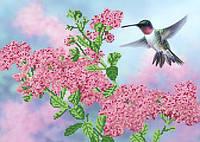 Ткань с рисунком для вышивания бисером Колибри над цветком РКП-592