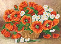 Ткань с рисунком для вышивания бисером Букет в корзине РКП-602