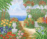 Ткань с рисунком для вышивания бисером Берег в цветах РКП-603
