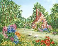 Ткань с рисунком для вышивания бисером Сказочный домик РКП-610