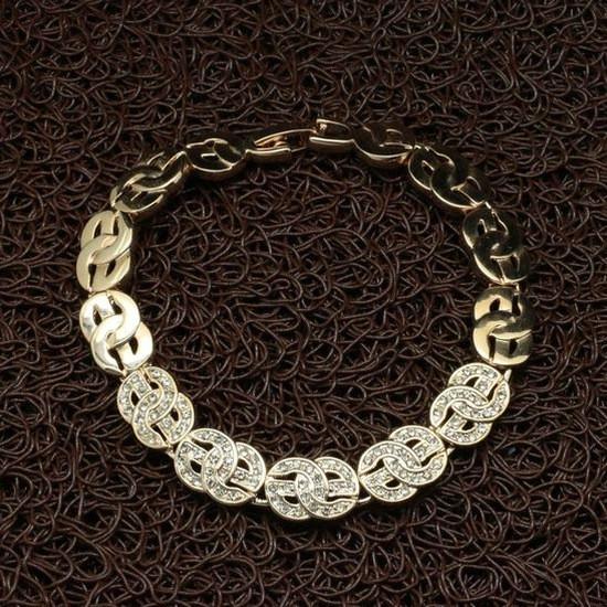 """Модный женский браслет """"GG"""" позолота кристаллы Stellux"""