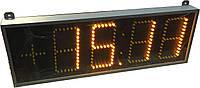 Часы термометр светодиодные желтые с отображением даты и месяца. Цифра 150 мм.