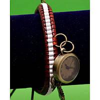 """Женские наручные часы-браслет на широком двойном ремешке с подвесками """"Джирравин"""", черно-белый"""