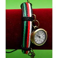 """Женские наручные часы-браслет на широком ремешке с подвесками """"Альстонвилл"""", черный с цветными шнурами"""