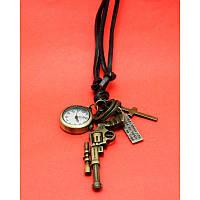 """Женские наручные часы-браслет на кожаных шнурах с крупными подвесками """"Бичворт"""", черный"""