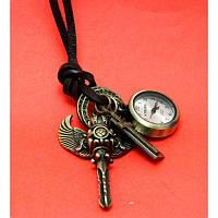 """Женские наручные часы-браслет на кожаных шнурах с крупными подвесками """"Бичено"""", черный"""