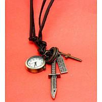 """Женские наручные часы-браслет на кожаных шнурах с крупными подвесками """"Калару"""", черный"""